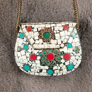 Stunning Vintage Mosaic Tile Brass Chain Purse